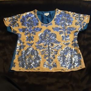 Women M Blue/Tan and Gold Tracy Reese Shirt.